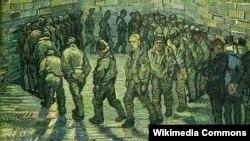 Вінсэнт ван Гог, «Прагулка вязьняў» (1890). Фрагмэнт карціны.