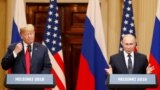 U.S. President Donald Trump (left) and Russian President Vladimir Putin speak to reporters in Helsinki on July 16.