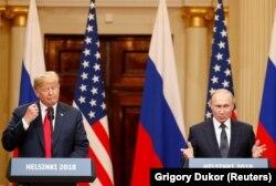 Președinții Donald Trump și Vladimir Putin la conferința de presă comună de la Helsinki, 16 iulie 2018