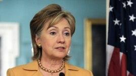 U.S. -- Secretary of State Hillary Clinton speaks at a press conference Washington, DC, 20Apr2009