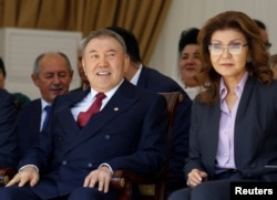 Former Kazakh President Nursultan Nazarbaev with his daughter Darigha in 2016.