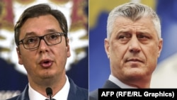 Serbian President Aleksandar Vucic (left) and his Kosovar counterpart Hashim Thaci (combination file photo)