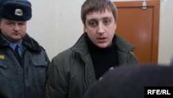Activist Artur Finkevich in court on March 23
