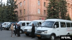 Armenia -- Minibuses parked outside the Vanadzor municipality on May 31, 2009.