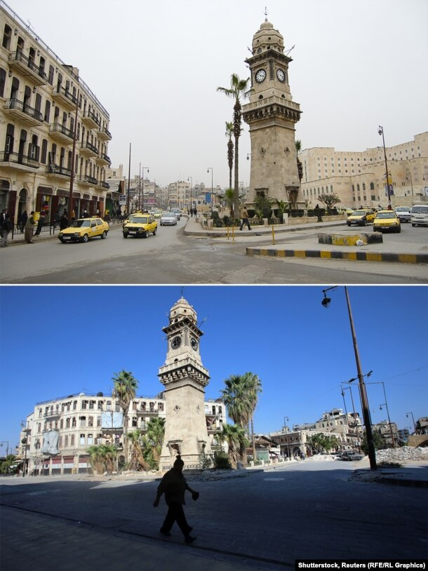 The clock tower of Bab al-Faraj Square is still standing, though piles of rubble show nearby damage.