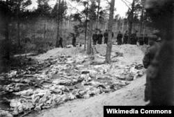 Тела застреленных в Катыни сотрудниками НКВД польских офицеров. Фото 1940 года