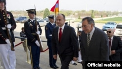 U.S. - U.S. Secretary of Defense Leon E. Panetta leads Armenian Defense Minister Seyran Ohanyan through an honor cordon at the Pentagon on March 23, 2012.