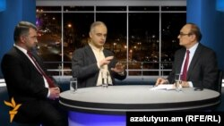 Armenia - RFE/RL's Armenian Service director Harry Tamrazian (R) hosts Armen Martirosian (L), vice-chairman of the Heritage party, and Levon Zurabian, leader of the Armenian National Congress's parliamentary faction, at Azatutyun TV's Yerevan Studio