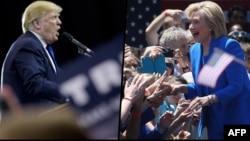 Дональд Трамп (сол жақта) пен Хиллари Клинтон.
