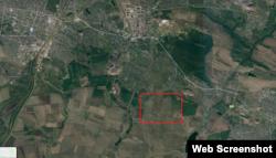 Розташування полігону (виділене червоним) у прив'язці до міст Горлівка та Єнакієве