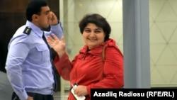 Azerbaijan -- Journalist Khadija Ismayil in Baku airport - 03Oct2014