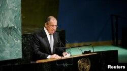 Министр иностранных дел России Сергей Лавров во время выступления на Генассамблее ООН. Нью-Йорк, 21 сентября 2017 года.