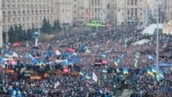Киевтің орталығындағы алаң. Украина, 1 желтоқсан 2013 жыл.