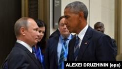 Рускиот претседател Владимир Путин разговара со американскиот претседател Барак Обама за време на состанокот на маргините на Самитот на Г20 во Хангжу, 5 септември 2016 година