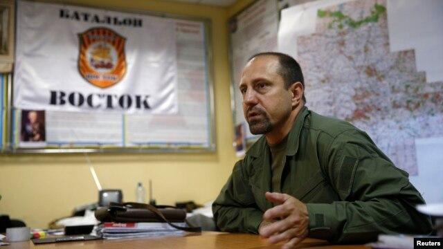 Rebel commander Aleksandr Khodakovsky of the so-called Vostok Battalion speaks during a previous interview in Donetsk on July 8.