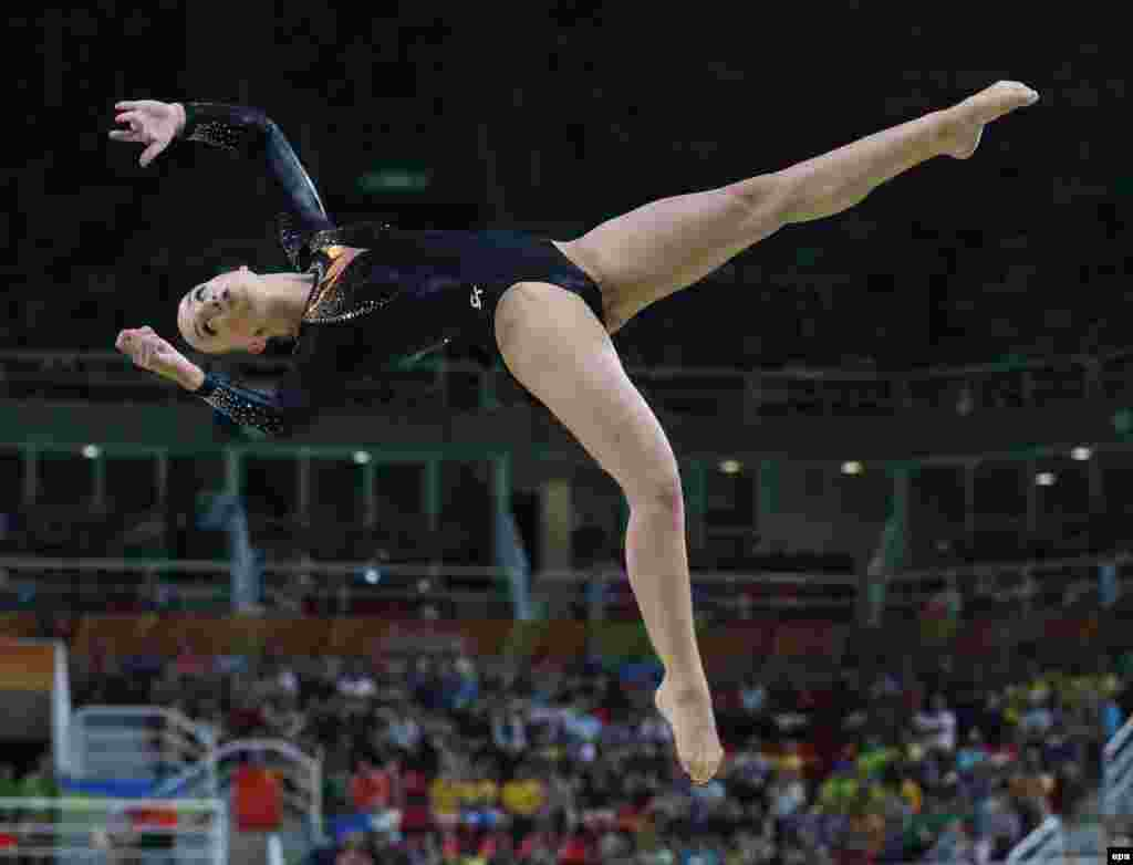 Sanne Wevers of the Netherlands competes in the women's balance beam final.
