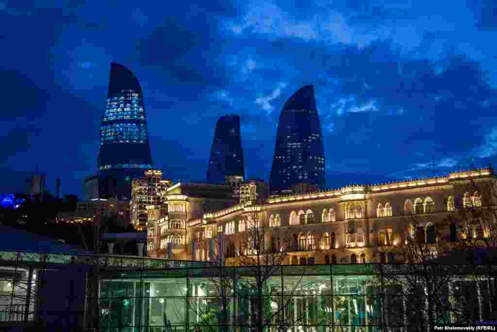 A view of the Flame Towers from the Caspian Sea embankment
