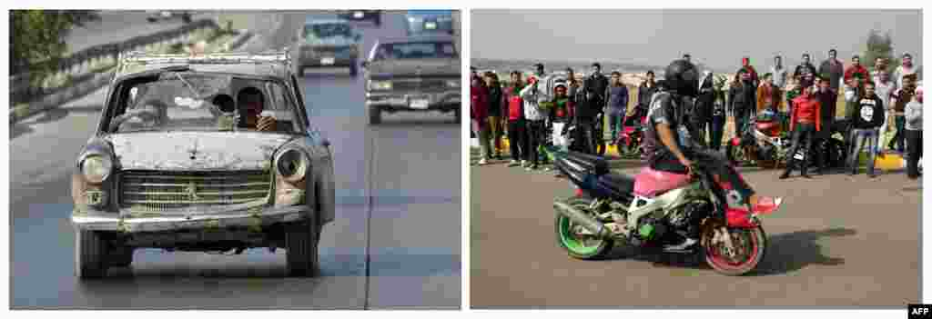 Left: A man drives a beat up car in Baghdad on October 24, 2003. Right: A stunt rider on his motorbike during a motor show on February 8, 2013.