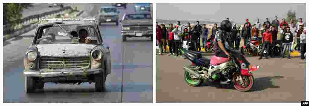 Solda: 24 oktyabr 2003. Bağdadın küçələrində sakinlər. Справа: 8 fevral 2013. Bağdadda motosiklet şousu.
