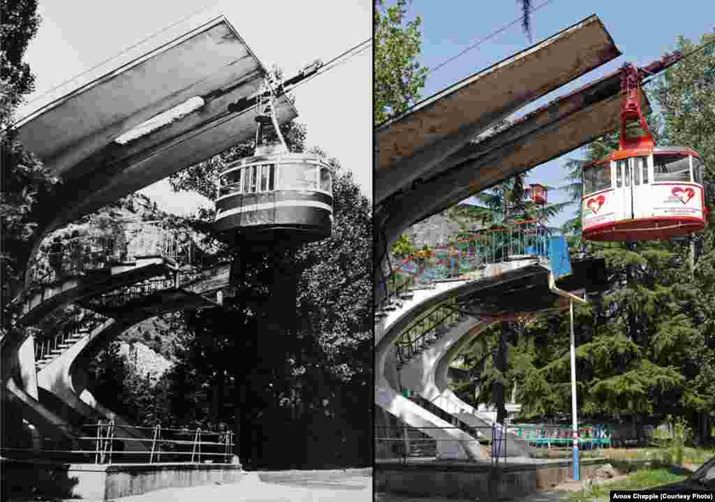 Then-and-now pictures of tramways built in the 1960s. In 2008, the hauling rope of this tramway snapped with 12 passengers inside. Chiatura didn't have the equipment needed to rescue the passengers, who were left suspended in a stalled cable car for 12 hours until a rescue team arrived from Tbilisi. The mining company offered the passengers compensation and counseling. (Photo courtesy Georgian Manganese Holdings)