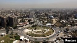 ساحة الفردوس وسط بغداد حيث كان ينتصب في وسطها تمثال ضخم لصدام