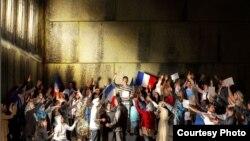 «Біз де ұлтпыз» атты шараның Жак-Луи Давидтің «Теннис залындағы ант» картинасына ұқсас етіп салынған бір баннері.