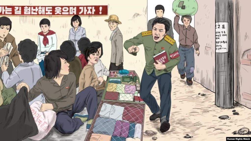 Облава и обыск северокорейских женщин, торгующих на рынке. Рисунок Чхве Сон Гука, бывшего северокорейского пропагандиста, бежвашего из КНДР на Запад