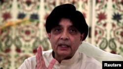 Pakistan - Pakistan's Interior Minister Chaudhry Nisar Ali Khan attends a news conference in Islamabad, Pakistan, May 24, 2016
