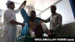 Повредено лице од напад во Авганистан. илустрација.