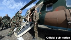 Armenia - Serzh Sarkisian, President of Armenia, gets on a military helicopter to fly to Nagorno Karabakh, 13Nov,2014