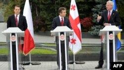 Бідзіна Іванішвілі (ц), Радослав Сікорський (л) і Карл Більдт (п) після зустрічі в Тбілісі