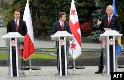 Совместная пресс-конференция Бидзины Иванишвили с Карлом Бильдтом и Радославом Сикорским в Тбилиси 23 октября 2013 г.