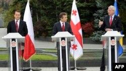Georgian Prime Minister Bidzina Ivanishvili is flanked at an October 23 press conference in Tbilisi by Polish Foreign Minister Radoslav Sikorski (left) and Swedish Foreign Minister Carl Bildt.