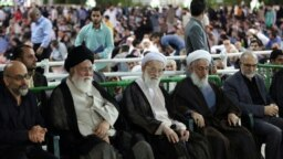 Iranian Conservative Clerics Ahmad Alamolhoda (2nd L), Ahmad Emami Kashani (C) and Kazem Sedighi (2nd R), in a gathering in Mashhad, undated.