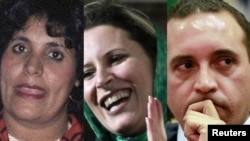 A photo montage shows Qaddafi's wife Safia, daughter Aisha, and son Hannibal (left to right).