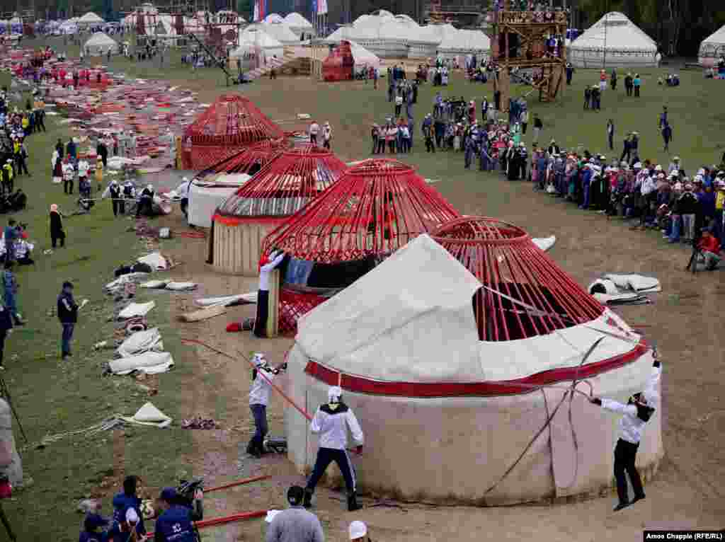 One of the most popular events was competitive yurt building. The fastest teams were able to erect the traditional nomad shelter in under 13 minutes.