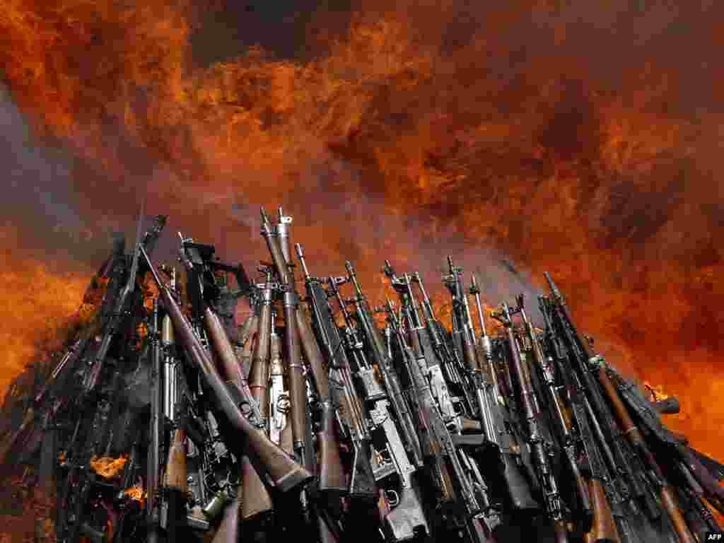 Сжигание нелегального оружия в Кении