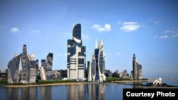 Azerbaijan's ambitious Khazar Islands project (artist's impression) could benefit from a new advance in elevator technology.