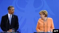 شست خبری مشترک باراک اوباما و آنگلا مرکل، صدراعظم آلمان، در برلین.