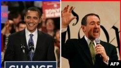 Айова ярышында алда килгән днмократ Барак Обама һәм республикан Майк Һакаби