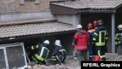 Рятувальники дістають людей з-під завалів будинку у центрі Києва. 26 лютого 2016 року
