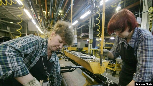 "Russian women working at the AvtoVAZ car factory. ""The public discourse is still about how...[women's] psychological differences from men prevent them from taking an equal part in society,"" says one gender studies scholar."