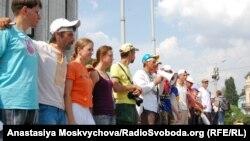 Удзельнікі акцыі пратэсту ў цэнтры Кіева