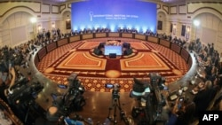 A general view shows the fifth round of Syria peace talks in Astana on July 5