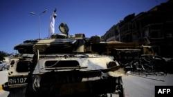 Знищений танк, Тріполі, 29 серпня 2011 року