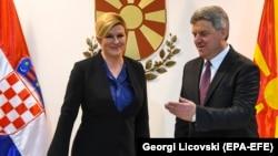 Хрватската претседателка, Колинда Грабар Китаровиќ со претседателот Ѓорѓе Иванов