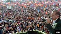 Turkish Prime Minister Recep Tayyip Erdogan addresses supporters during an election rally in Istanbul on March 23.