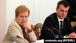 The head of Central Election Commission Lidziya Yarmoshyna (left)
