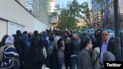 تجمع احضار شدگان با پیامک «کشف حجاب در خودرو» در خیابان وزرای تهران.