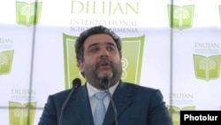 Armenia - Russian-Armenian tycoon Ruben Vardanian speaks at the launch of the construction of an international school in Dilijan in April 2010.